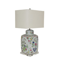 Chinoisery Floral Cylinder Tea Jar Table Lamp