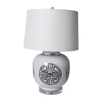 Blue And White Yuan Longevity Jar Table Lamp