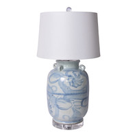 Blue & White Four Loop Handle Jar Twisted Flower Lamp