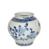 Blue & White Bird Floral Open Top Jar