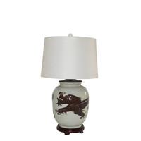 Dark Brown Squash Vase Dragon Motif Lamp Wood Base