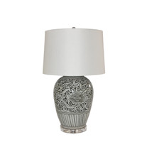 Black Peony Open Top Porcelain Urn Lamp