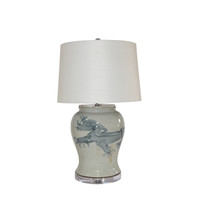 Blue And White Yuan Dragon Open Top Jar Lamp