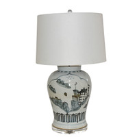 Blue And White Landscape Medallion Open Top Jar Lamp