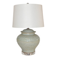 Sage Green Embossed Fish Porcelain Ginger Jar Lamp