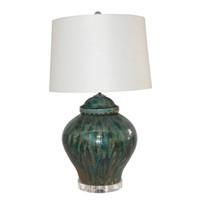 Lamp Of Speckled Green Porcelain Jar Lion Lid Lamp