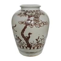 Open Top Porcelain Jar With Brown Bird Motif