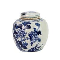 Blue And White Mini Jar Pheasant With Peony