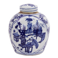 Blue And White Mini Jar Medallion Symbol