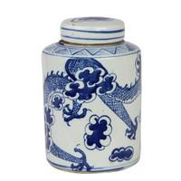 Blue And White Mini Tea Jar Dragon