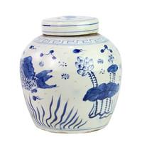 Blue And White Ming Jar FIsh Motif