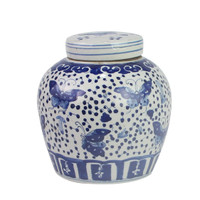 Blue And White Ming Jar Butterfly