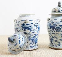 Vintage Temple Jar Lion Motif - 2 Sizes