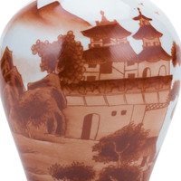 Orange Slim Jar Landscape Motif