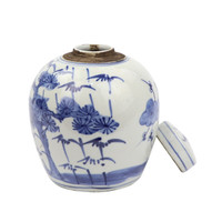 Blue And White Tiny Lid Mini Jar Plum & Pine