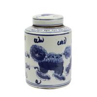 Blue And White Mini Tea Jar Lion