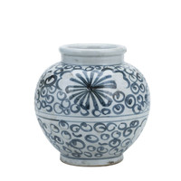Blue And White Small Jar Sea Flower
