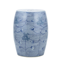 Blue And White Porcelain Chain Floral Garden Stool