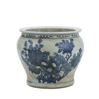 Blue And White Small Planter Flower With Pheasant