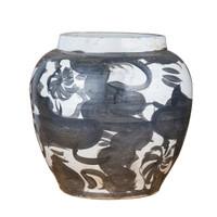 Black Porcelain Twisted Flower Wide Open Top Jar