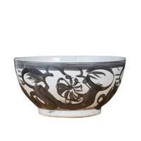 Black Porcelain Bowl Twisted Flower Motif
