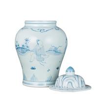 Blue White Porcelain Temple Jar Old Man Motif