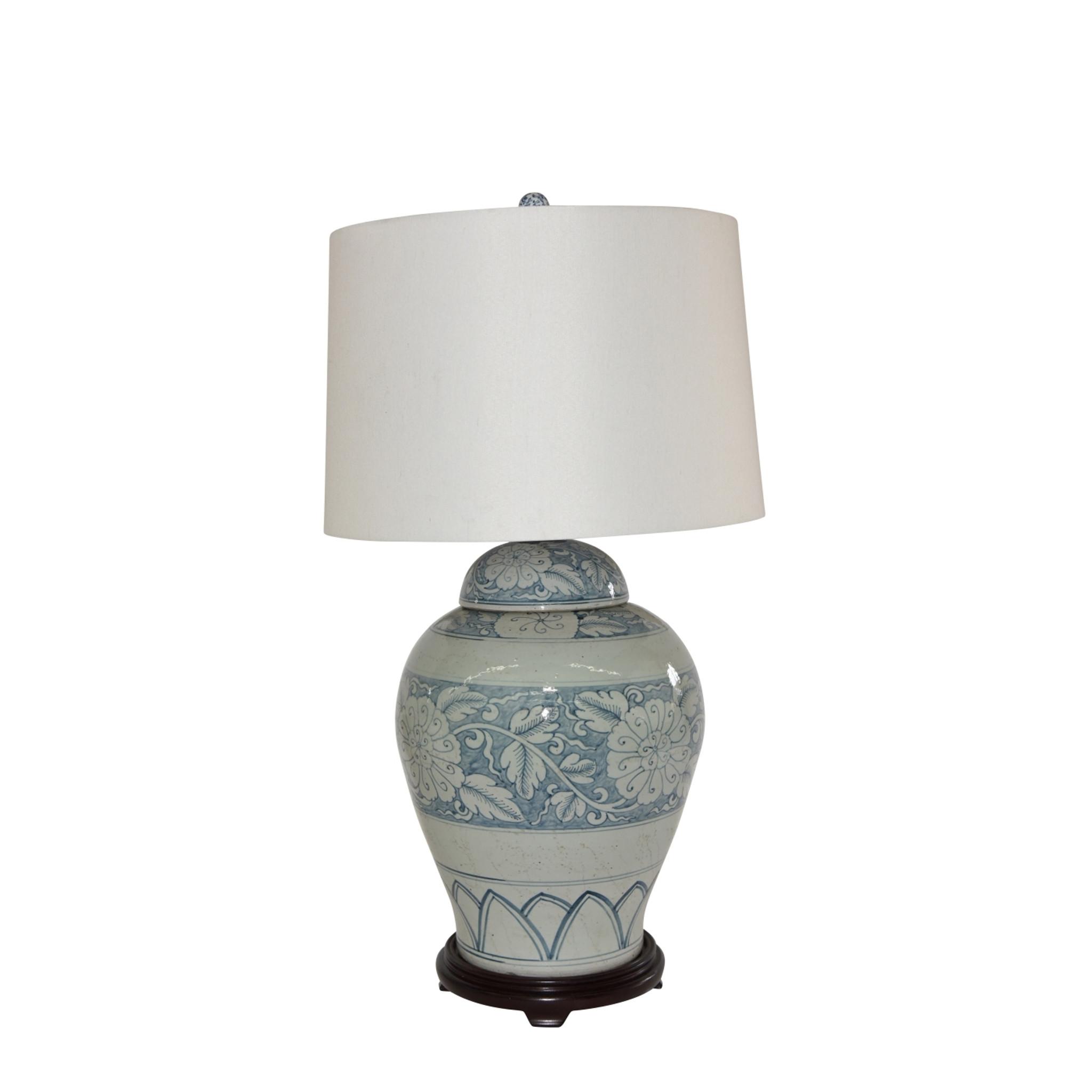 Blue And White Porcelain Lidded Peony Jar Lamp Wood Base