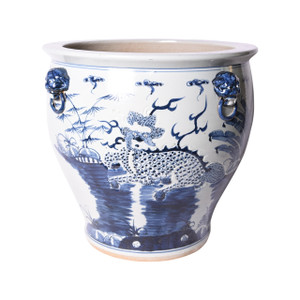 Blue & White Kylin Bowl Shape Planter