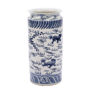 Blue & White Lion Umbrella Stand