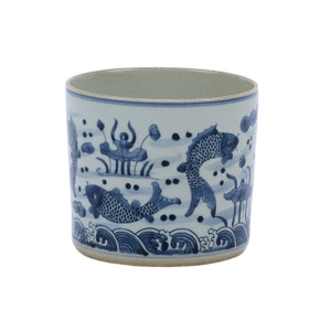 Blue & White Fish Orchid Pot