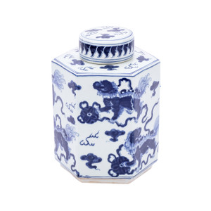 Blue & White Lion Hexagonal Tea Jar