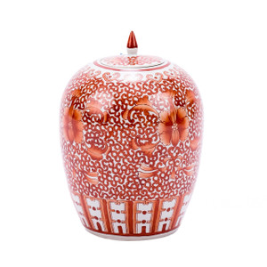 Coral Red Twisted Lotus Ginger Jar