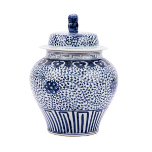 Blue & White Curly Vine Lidded Jar