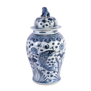 Blue & White  Porcelain Fish Temple Jar