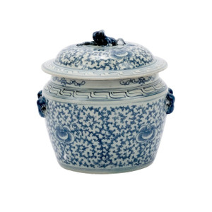 Blue & White Lidded Rice Jar Floral Motif