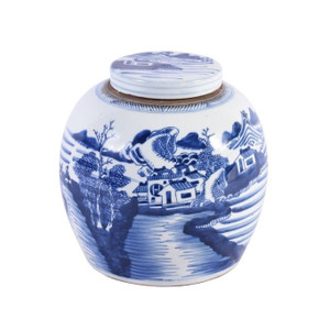 Blue & White Ancestor Jar W/ Landscape Design