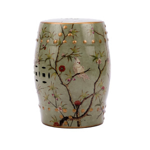 Famille Rose Green Stool Bird Floral Motif