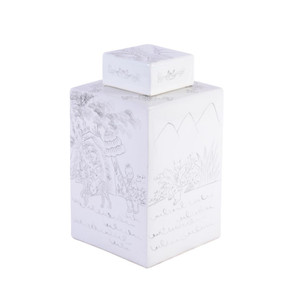 White Square Tea Jar Carving People