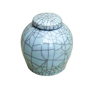 Celadon Crackle Lidded Porcelain Ming Jar