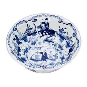Blue & White Bowl W/ People Scene