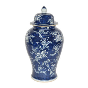 Blue & White Butterfly Porcelain Temple Jar