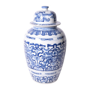 Blue & White Grass Dragon Porcelain Heaven Jar