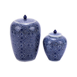 Blue & White Cluster Flower Ginger Jar - 2 Sizes