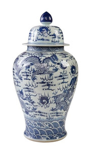 Blue & White Temple Jar Sea Dragon Motif - L