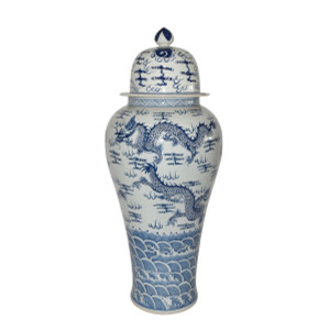 Blue & White Temple Jar Sea Dragon Motif - XL