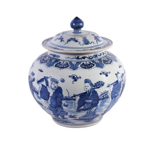 Blue & White Ginger Jar W/ Eight Immortals Motif