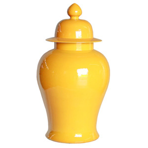Yellow Porcelain Temple Jar - XL
