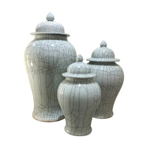 Crackled Celadon Temple Jar - 3 sizes