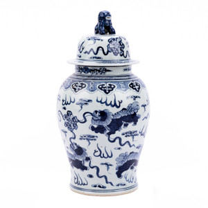 Blue And White Foo Dog Temple Jar