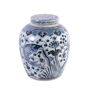 Blue & White Ancestor Lidded Jar Fish Motif